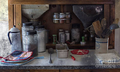 Photograph - Old Cupboard - Vintage Kitchen Items by Liane Wright
