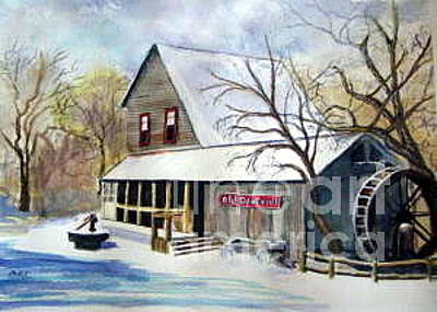 Cotton Gin Painting - Old Dawt Mill by Caroline Colasanti
