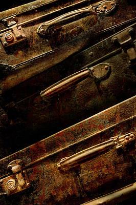 Treasure Box Photograph - Old Dirty Brown Suitcases by Jaroslaw Blaminsky