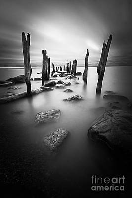Curated Beach Towels - Old dock black and white by Todd Bielby
