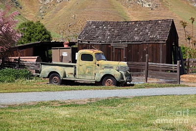 Photograph - Old Dodge Truck At Ranch Along The Rolling Hills Landscape Of The Black Diamond Mines In Antioch Cal by Wingsdomain Art and Photography