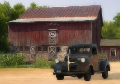 Old Barns Painting - Old Dodge Truck by Jack Zulli
