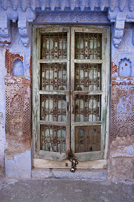 Photograph - Old Door In Blue City by Michele Burgess