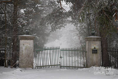 Old Driveway Gate In Winter Art Print