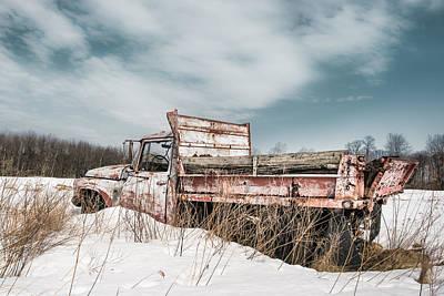 Truck Photograph - Old Dump Truck - Winter Landscape by Gary Heller