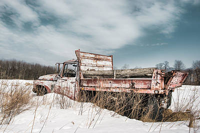Old Trucks Photograph - Old Dump Truck - Winter Landscape by Gary Heller