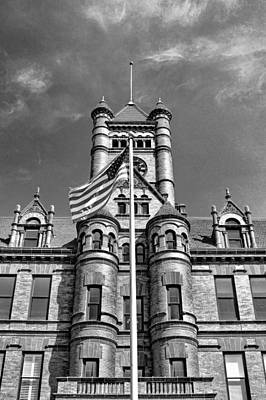 Photograph - Old Dupage County Courthouse Flag Black And White by Christopher Arndt