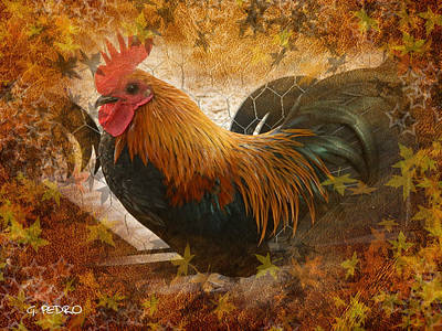 Photograph - Old English Game Bantam In Autumn Colors by George Pedro