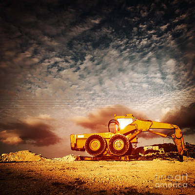 Photograph - Old Excavator On Sunset by Anna Om