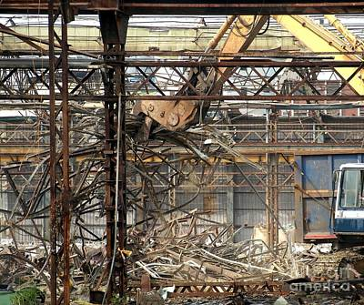 Backhoe Photograph - Old Factory Is Being Demolished by Yali Shi