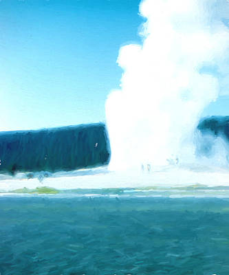 Yellowstone Digital Art - Old Faithful  by Cathy Anderson