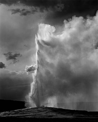 Photograph - 109154-old Faithful Geyser Bw by Ed  Cooper Photography