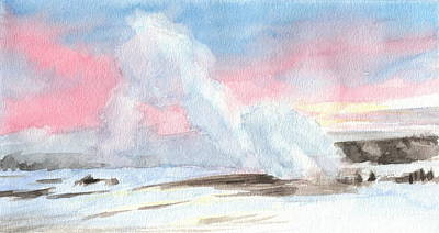 Painting - Old Faithful Sunrise Watercolor Painting by Mike Theuer