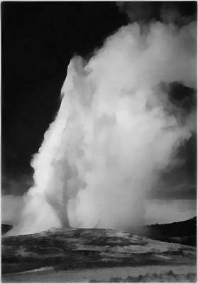 Yellowstone Digital Art - Old Faithful Yellowstone National Park by Ansel Adams