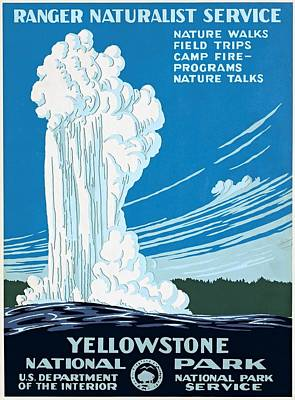 Advertisment Painting - Old Faithful Yellowstone National Park Poster Ca 1938 by WPA poster