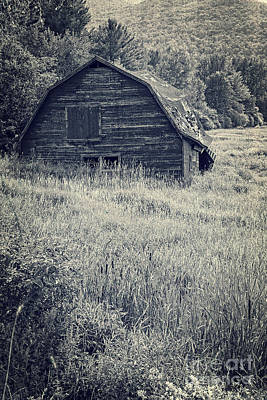 Old Farm Photograph - Old Falling Down Barn Blue by Edward Fielding