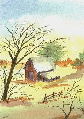Patrick Painting - Old Farm And Red Barrn by David Patrick