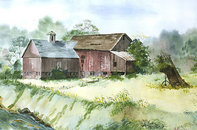Art Print featuring the painting Old Farm Buildings by Susan Crossman Buscho