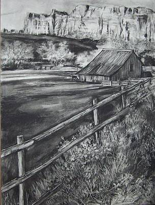 Drawing - Old Farm House by Laneea Tolley