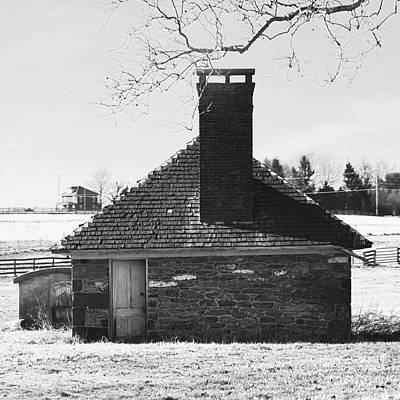 Photograph - Old Farm Spring House In Black And White by Bob Sample