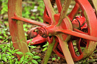 Old Farm Tractor Wheel Art Print by Carolyn Marshall