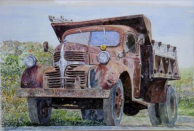 Car Window Painting - Old Farm Truck by Anthony Butera