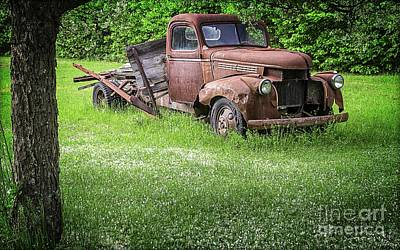 Old Farm Truck Art Print by Edward Fielding