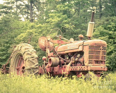 Country Setting Photograph - Old Farmall Tractor At Sunrise by Edward Fielding