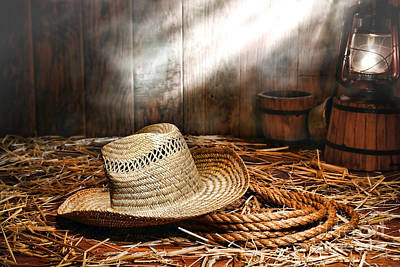 Old Farmer Hat And Rope Art Print by Olivier Le Queinec