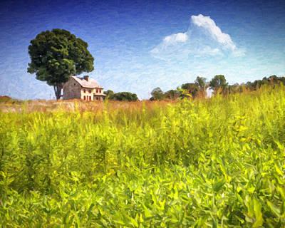 Farm Scenes Photograph - Old Farmhouse On The Hill by Vicki Jauron