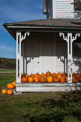 Photograph - Old Farmhouse With Pumpkins On The Porch by Karen Stephenson
