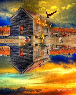 Digital Art - Old Farmstead - Reflective Past by Liane Wright