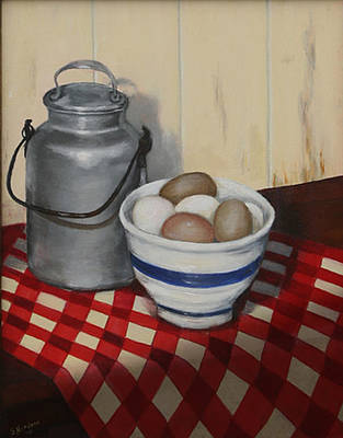 Milk Can Painting - Old Fashioned Breakfast by Sandra Nardone