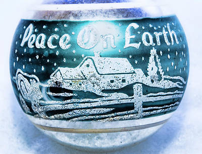 Art Print featuring the photograph Christmas Tree Ornament Peace On Earth  by Vizual Studio