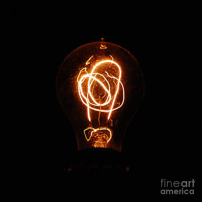 Outmoded Photograph - Old Fashioned Edison Lightbulb Filaments Macro by Shawn O'Brien