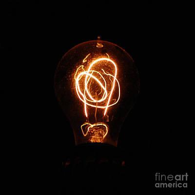 Old Fashioned Edison Lightbulb Filaments Macro Art Print by Shawn O'Brien
