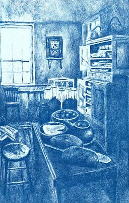 Still Life Drawings - Old Fashioned Kitchen in Blue by Kendall Kessler