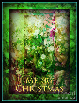 Photograph - Old Fashioned Merry Christmas - Roses And Babys Breath - Holiday And Christmas Card by Miriam Danar