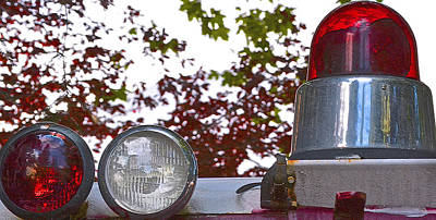 Photograph - Old Fire Engine Lights by Bill Owen