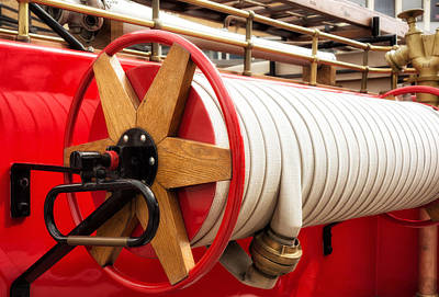Photograph - Old Fire Hose - Red Fire Truck by Matthias Hauser