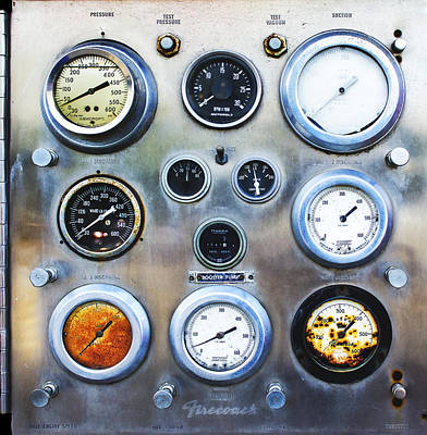 Photograph - Old Fire Truck Gauge Panel by Wes Jimerson