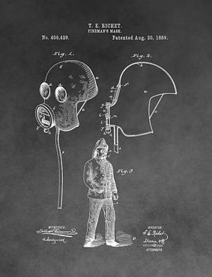 Mixed Media - Old Fireman's Mask Patent by Dan Sproul