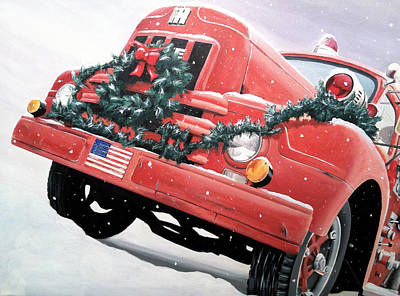 Painting - Old Firetruck At Christmas by Branden Hochstetler