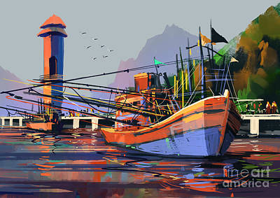 Harbor Scene Wall Art - Digital Art - Old Fishing Boat In The Harbor,digital by Tithi Luadthong