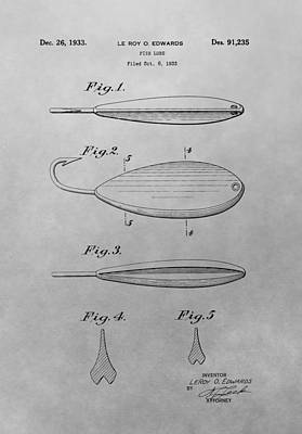 Old Fishing Lure Patent Drawing Art Print by Dan Sproul