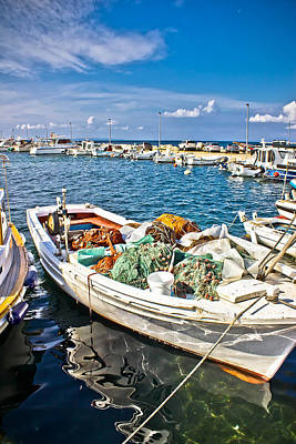 Photograph - Old Fishing Wooden Boat With Nets by Brch Photography
