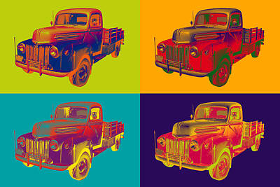 Photograph - Old Flat Bed Ford Work Truck Pop Art by Keith Webber Jr