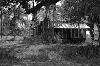 Photograph - Old Florida House Bw by Ronald T Williams