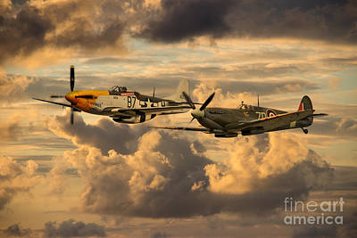 North American P51 Mustang Digital Art - Old Flying Machines  by J Biggadike