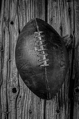 Black And White Photograph - Old Football by Garry Gay